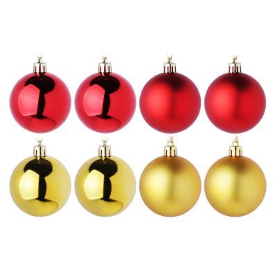 372-385 Елочные шары набор СНОУ БУМ 8 шт, 6см, пластик, в тубе, красный и золотой