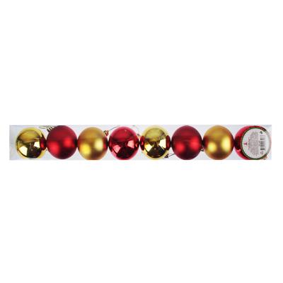 372-385 СНОУ БУМ Набор шаров 8 шт, 6см, пластик, в тубе, красный и золотой