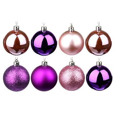 372-387 СНОУ БУМ Набор шаров 8 шт, 6см, пластик, в тубе, фиолетовый и розовый