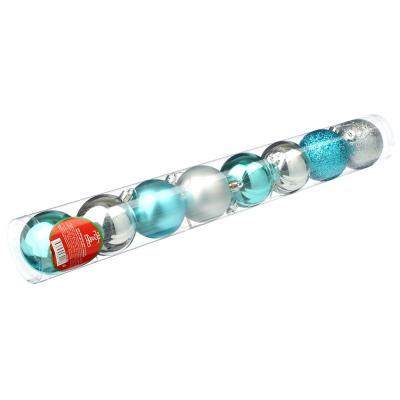 372-388 СНОУ БУМ Набор шаров 8 шт, 6см, пластик, в тубе, голубой и серебряный