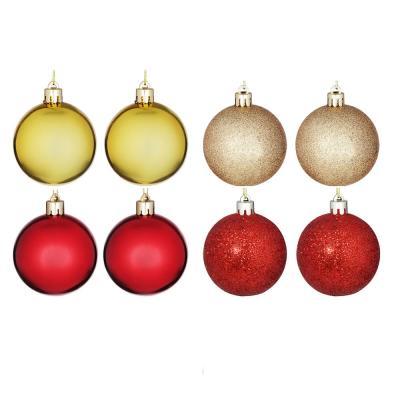 372-392 Елочные шары набор СНОУ БУМ 8 шт, 8см, пластик, в тубе, красный и золотой