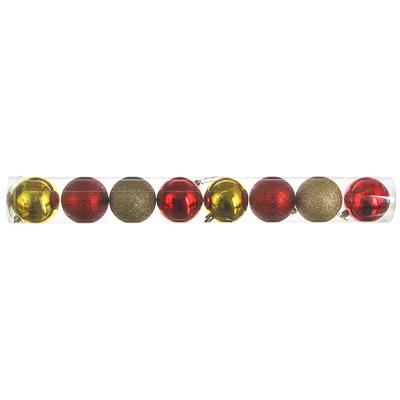 372-392 СНОУ БУМ Набор шаров 8 шт, 8см, пластик, в тубе, красный и золотой