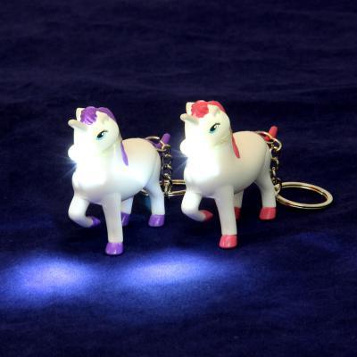 519-386 Брелок в форме единорога, свет, звук, 9-10см, пластик, 2 цвета