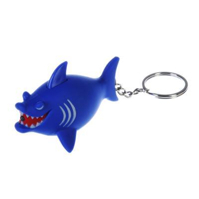 519-387 Брелок в форме акулы, свет, звук, пластик, 10-11см