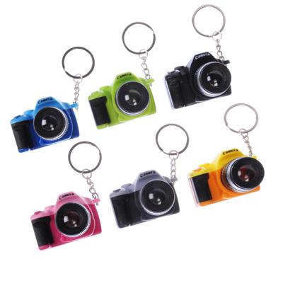 519-392 Брелок в форме фотоаппарата, свет, звук, пластик, 10см, 6 цветов