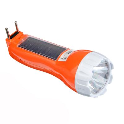 224-009 ЧИНГИСХАН Фонарь, 1 LED + 5 LED в ручке, 1Вт, аккумулятор 300мАч+ солн.батарея, 16см, пластик, 2 реж