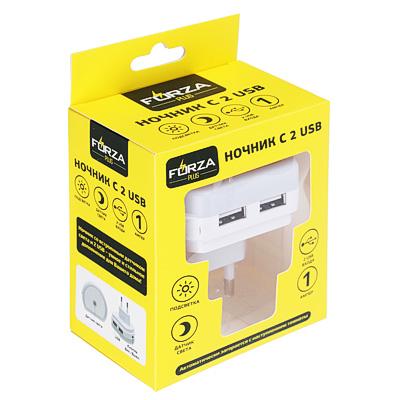 916-126 FORZA Ночник с 2 USB, 1А, 220 В