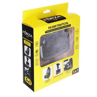 916-127 FORZA Разветвитель 3 гнезда прикуривателя + 2 USB, DC 12V-24V, USB: DC5V, 2.1A/1A