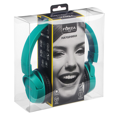 916-134 Наушники FORZA с микрофоном полноразмерные, коробка ПВХ, 2 цвета