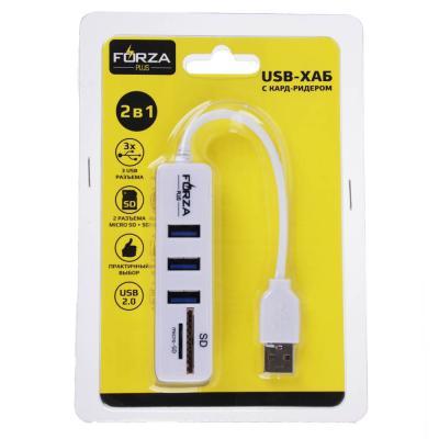 916-139 FORZA USB-хаб 3 USB, USB 2.0, кард-ридер SD, Micro-SD