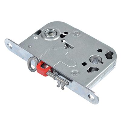 616-036 Корпус врезного замка под WC фиксатор/ключ, 45мм, м/о 72мм, SC/матовый хром