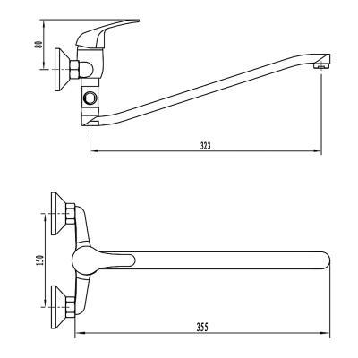 567-020 Смеситель для ванны с душем СоюзКран, однорычажный, плоский излив 35см, хром, SK1012.1
