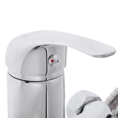 567-021 Смеситель для ванны с длинным изливом, керамический дивертор, с душ комплектом, картридж 35мм, цинк,