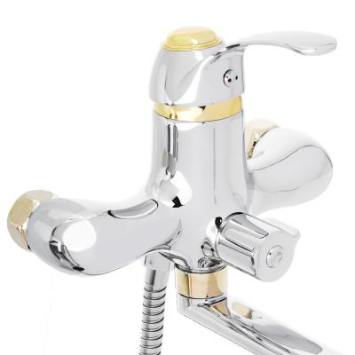 567-023 СоюзКран Смеситель для ванны с дл. изливом SK1022, керам. дивертор, с душ набором, 40мм, цинк
