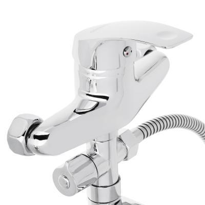 567-024 Смеситель для ванны с длинным изливом, керамический дивертор, с душ комплектом, картридж 40 мм, цинк