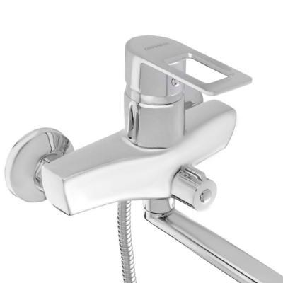 567-026 Смеситель для ванны с длинным изливом, керамический дивертор, с душ комплектом, картридж 40 мм, цинк