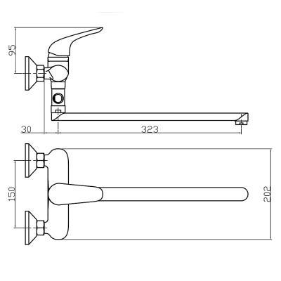 567-027 Смеситель для ванны с длинным изливом, керамический дивертор, с душ комплектом, картридж 35 мм, цинк