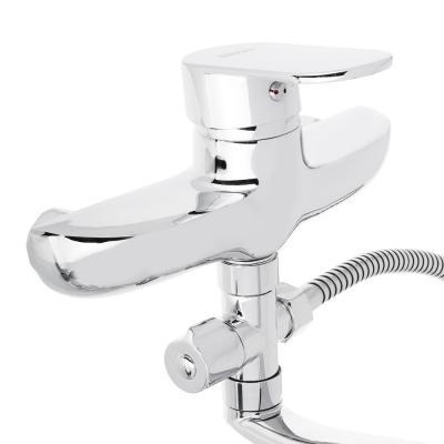 567-033 Смеситель для ванны с длинным изливом, керамический дивертор, с душ комплектом, картридж 40 мм, цинк