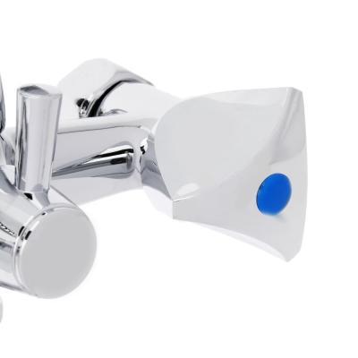 567-038 Смеситель для ванны с длинным изливом 40см, с душевым комплектом, резиновые кран-буксы 1/2, цинк, Со