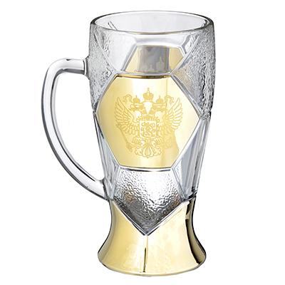 531-133 Кружка пивная стеклянная с декором К1404 Лига 500мл ГН Герб