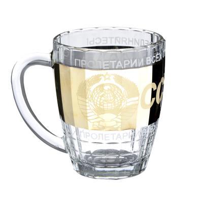 531-134 Кружка пивная стеклянная с декором К1361 Ностальгия 500мл ГН СССР