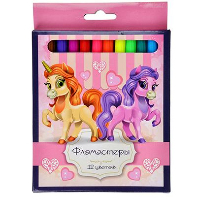 256-129 Лошадки Фломастеры 12 цветов, с цвет. вентилир. колпачком, пластик, в карт.коробке с подвесом