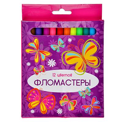 256-130 КРЫЛАТЫЕ ЦВЕТЫ Фломастеры 12 цветов, 12,6х7мм, с цвет. вентилир. колпачком, пластик,в к/к с подвесом