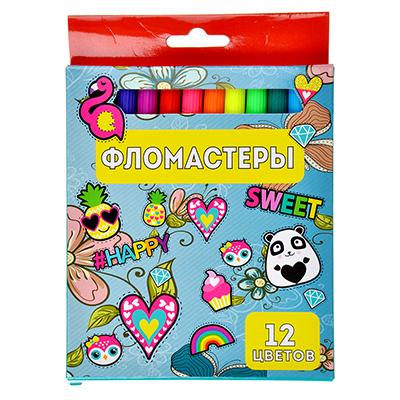 256-131 Джинс Фломастеры 12 цветов, с цвет. вентилир. колпачком, пластик, в карт.коробке с подвесом