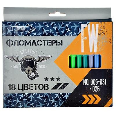 256-132 Авиатор Фломастеры 18 цветов, с цвет. вентилир. колпачком, пластик, в карт.коробке с подвесом