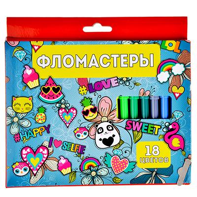 256-133 Джинс Фломастеры 18 цветов, с цвет. вентилир. колпачком, пластик, в карт.коробке с подвесом