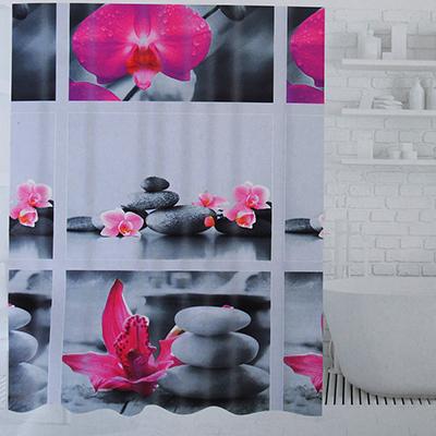 019-022 SonWelle Шторка для ванной, ПЕВА, 180х180см, 2 дизайна, МИКС