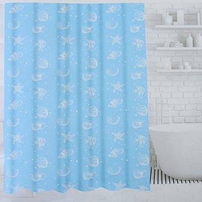 019-024 SonWelle Шторка для ванной, ПЕВА, 180х180см, 3 дизайна, МОРСКОЙ БЕРЕГ