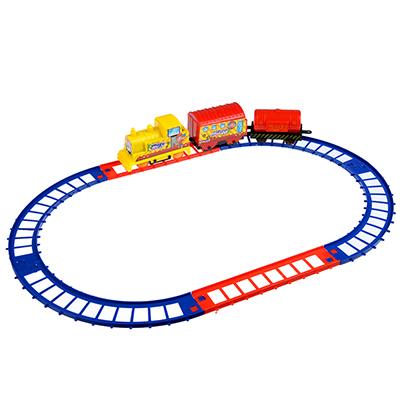 276-044 МЕШОК ПОДАРКОВ Поезд с рельсами на батарейках, 1АА, пластик, 23х19х3,5см