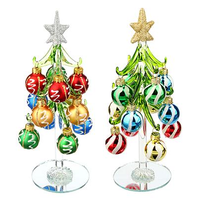 386-117 Елка сувенирная, стекло, 20см, 12 подвесок-шаров, 2 дизайна, СНОУ БУМ