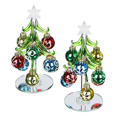 386-118 СНОУ БУМ Елка сувенирная, стекло, 15см, 9 подвесок-шаров, 2 дизайна