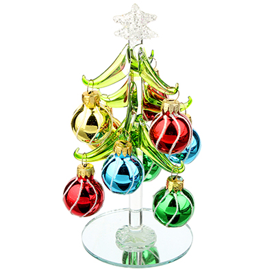 386-119 СНОУ БУМ Елка сувенирная, стекло, 15см, 9 подвесок-шаров