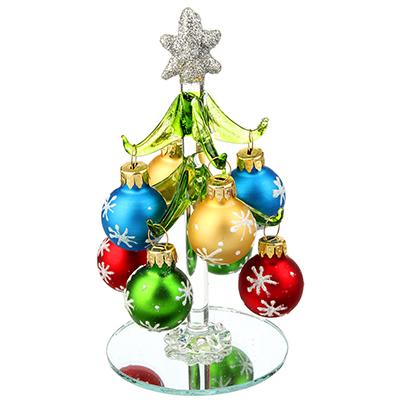 386-120 СНОУ БУМ Елка сувенирная, стекло, 12см, 8 подвесок-шаров со снежинками