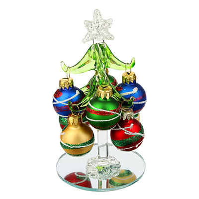 386-121 Елка сувенирная, стекло, 12см, 8 подвесок-шаров с рисунком, СНОУ БУМ