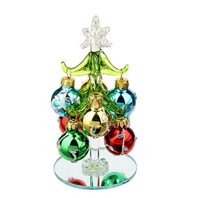 386-122 Елка сувенирная, стекло, 12см, 8 подвесок-шаров со стразами, СНОУ БУМ