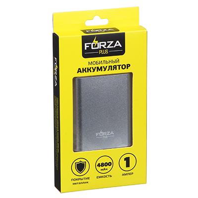 916-144 FORZA Аккумулятор мобильный, 4800-6000 мАч, 1А, металлик