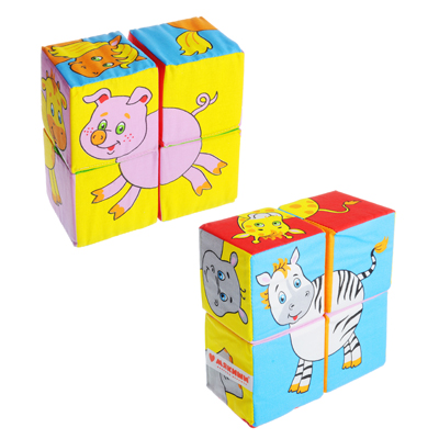 "262-416 МЯКИШИ Кубики мягкие 4 шт. ""Собери картинку. Животные"", х/б ткань, поролон, 16х16х8см, 2 дизайна"