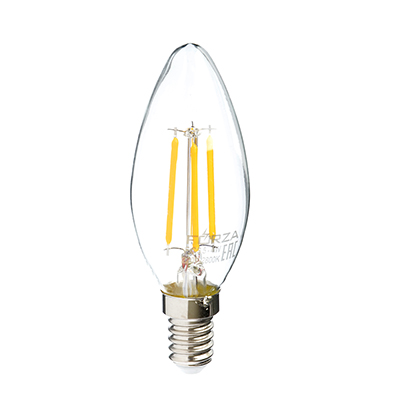Лампа филаментная свеча, 4W, Е14, 390lm, 2800К