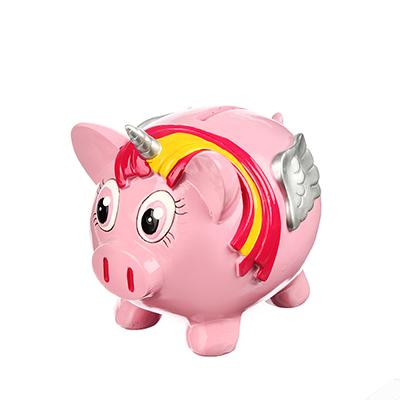 359-627 Копилка в виде свинки розовая, 14.5x11.5x12.5см, полистоун, Арт 27-05