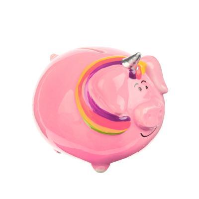 359-628 Копилка в виде свинки с радугой, 10.3x9.2x9см, полистоун, 2 цвета, Арт 27-09