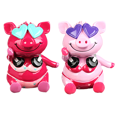 359-630 Копилка в виде свинки в купальнике, 12x10.5x14см, полистоун, 2 цвета, Арт 27-14