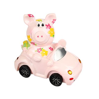 359-631 Копилка в виде свинки в машинке, 17x10x15см, полистоун, Арт 27-17