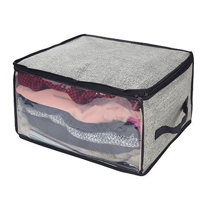 457-395 VETTA Кофр для одежды с прозрачным окном 35х30х20см, искусственный лен, полиэтилен