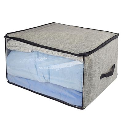 457-396 VETTA Кофр для подушек и одеял с прозрачным окном, 60х50х35см, искусственный лен, полиэтилен