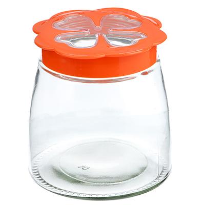 828-202 Банка для сыпучих продуктов, пласт. крышка, стекло, 980мл, 02-0813D-13