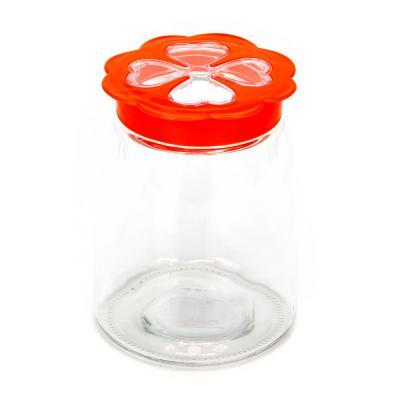 828-203 Банка для сыпучих продуктов, пласт. крышка, стекло, 1300мл, 02-0813D-16